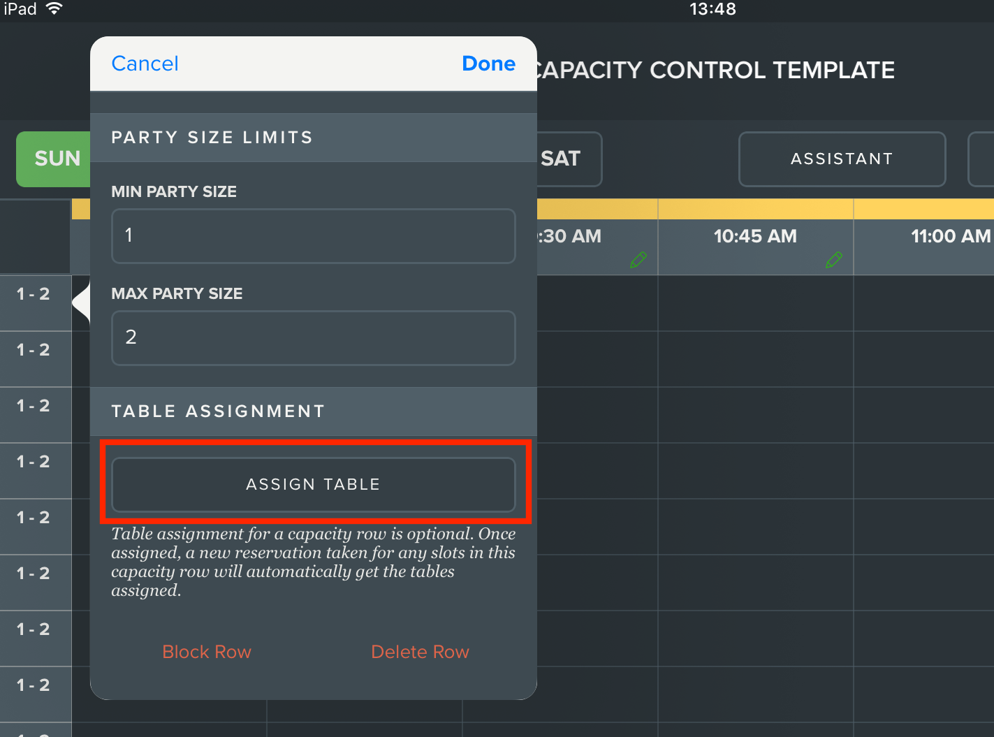 Capacity Management Assigning A Capacity Row To A Specific Table - Table management app